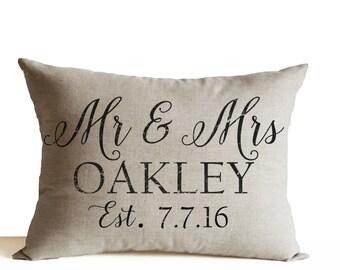 Personalized Mr Mrs Pillow, Wedding Decor Pillow, Anniversary Pillow, Lumbar Pillow, Linen Pillow, Custom Name Date Pillow, Valentine Gift