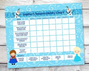 Frozen chore chart, Frozen Reward Chart, Responsibility Chart, Weekly Chore Chart, Behavior Chart, Allowance chart, DIY Editable PDF