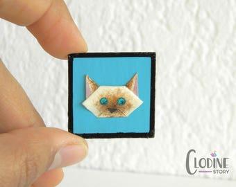 Siamese cat origami brooch, Siamese cat, Origami cat, Origami brooch, Paper crafted, Origami pin, Cat accessories, Kitty, Kawaii brooch