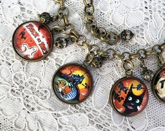 Trick or Treat ~ Handmade Glass Dome Charm Bracelet ~ from Vintage Halloween Candy Bags