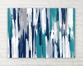 Canvas Wall Art, Navy Teal Grey White, Wall decor