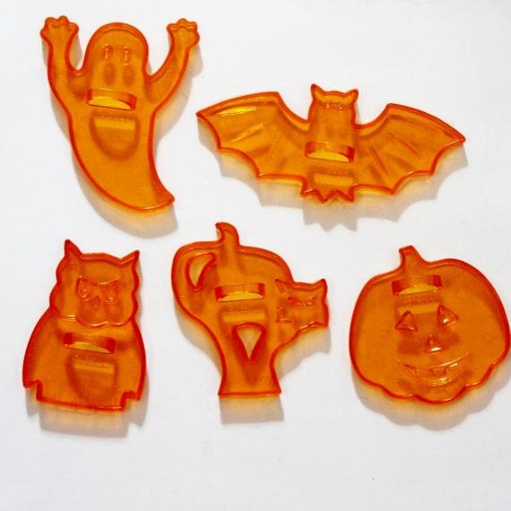 Cookie Cutters Vintage Amscan Clear Orange Halloween