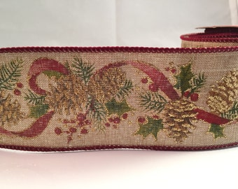 Pine Cone Ribbon- 2.5in Extra-Wide Ribbon- Wire-Edge - 1 Yard