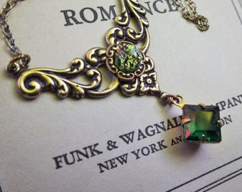 Vintage Style ~ Emerald Necklace ~ May Birthstone ~ Pendant ~ Green Opal ~ Art Nouveau ~ Vintage Glass ~ by LadyofTheLakeJewels