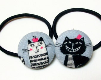 Handmade Kawaii Blue White Japanese Cats Animal Children Girl Fabric Button Ponytail Holder Elastic Hair Ties Girly Gifts Cat Accessories