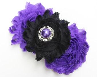 Purple and black hair bow black wedding bows girls hair clips toddler black bows purple flower girls bows purple hair clip