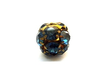 Vintage Swarovski crystal ball bead 15mm, indigo blue rhinestones in brass setting- RARE
