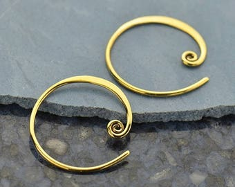 Natural Bronze Curled Hoop Earring Finding