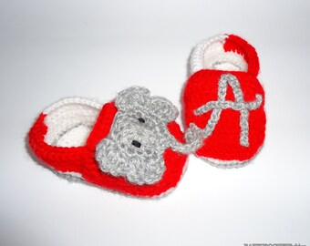 Soft Baby Shoes, Crochet Baby Moccassins, Red Baby Moccassins, Alabama Shoes, Crochet Baby Alabama Moccassins, Cute Baby Shoes