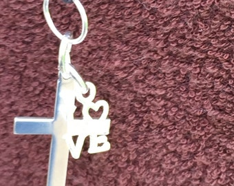 Cross Love Leather Pendant 00010 kbrownjewellery, Cross Leather Necklace, Love Leather Necklace, Edinburgh Jewellery Designer