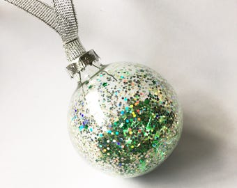 Green Glitter Filled Glass Christmas Bauble 6cm