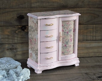 Jewelry Armoire Shabby Chic Jewelry Box Hand Painted Pink