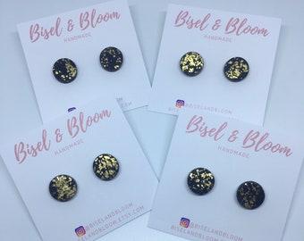 Black and Gold Leaf studs