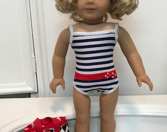 American Made Swimsuit / bag and sandals made to fit 18 inch dolls such as American Girl