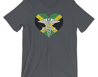 Jamaica Registered Nurse Flag T-Shirt, Jamaican RN Nurse Caduceus Symbol Souvenir Tee Shirt, Caduceus In Jamaica Heart Logo Shirt Gift