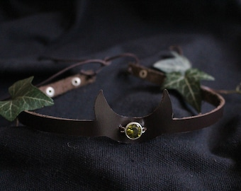 Leather crown with green Stone, crescent moon