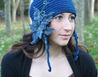 Secret Garden Felted Flower Hat- Forest, Teal, Aqua- All Wool Ear Flap Hat