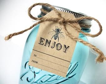 Kraft Enjoy hang tags, name tags for Ball mason canning jar gifts, 12 cottage chic honey bee kraft paper hang tags
