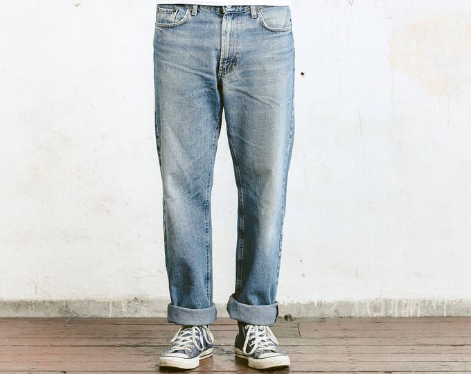 90s Distressed Jeans . Men's Vintage Stonewashed Straight Leg Tapered 90s Jeans Men Trousers Classic Denim Jeans 90 Clothing . W34 L34