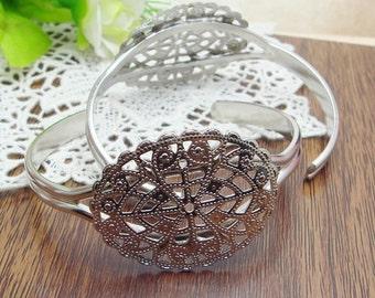 4pcs  Silver Plated  Cuff-Bracelet (33x41mm Filigreen),Nickel Free