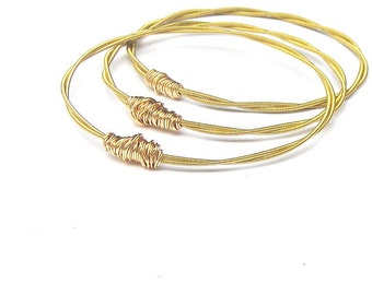 Gold Bangle Bracelets // Set of 3 Bracelets / Guitar String Bracelets // Eco-Friendly Jewelry // Bridesmaid Gift / Personalized Jewelry Gift