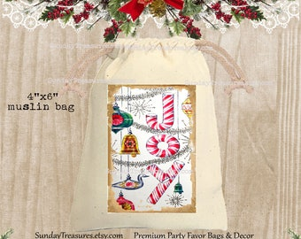 Vintage Candy Cane Muslin Gift Bag  / 4x6 / Candy Cane Tinsel Ornaments, CHRISTMAS Gift Card Holder / Hot Cocoa Packet Holder