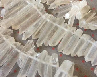 quartz sticks, Rough Cut Graduated Quartz Daggers, quartz daggers, spike beads, quartz points, titanium quartz