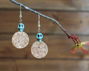 Turquoise skull wine cork earrings