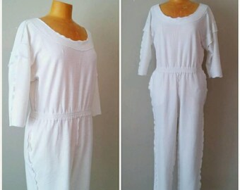 Vintage 1980s White Sweatshirt Jumpsuit, Inside Out White Cotton Jumpsuit Romper, Size Medium Open Back White Jumpsuit,DAFFY, White Jumpsuit