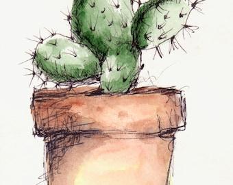 Cactus Plant Original Watercolor Art Painting Pen and Ink Watercolor Hand Painted Cactus Flower Plant In Pot