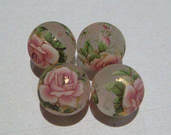4 Matte light pink rose Japanese tensha acrylic beads