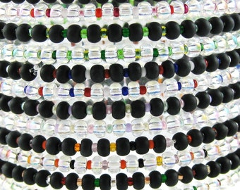 Happy EVERYTHING Multicolor set of 12 stretchy seed bead bracelets available in five different sizes