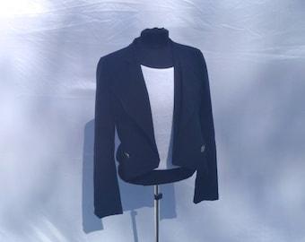 Vintage 90's Black  Cropped Blazer Bolero Sports Jacket by iNg Size Medium