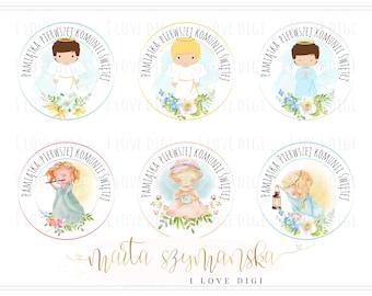 First Holy Communion Printable digital stamp set, Girl and Boy, POLISH language version