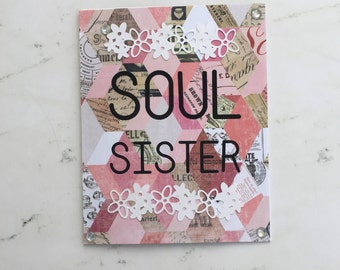 Handmade Greeting Card - Soul Sisters Card, Friendship Cards, Hello Cards, Birthday Cards, Personalized Greeting Cards, Bridesmaid Cards