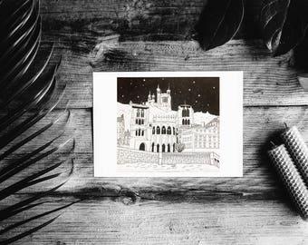 Black and white illustration card