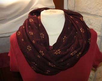 snood or hood in Burgundy sheer fabric large size