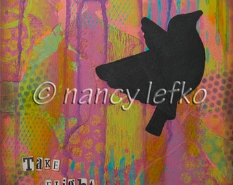 take flight - 8 x 8 Original Collage on Canvas by Nancy Lefko