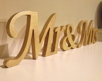Gold Glitter Mr. & Mrs, freestanding Mr and Mrs signs for sweetheart table