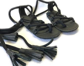 Black Gladiators sandals made from genuine leather, baby moccasins, Mary Janes baby girl sandals
