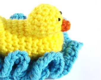 Crochet Baby Gift Pattern - DIY Bathroom Decor - Crochet Duck Pattern - Amigurumi Pattern - Washcloth Pattern - Crochet Pattern