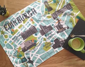 Edinburgh Map Tea Towel / Fathers Day Gift / Edinburgh Castle Tea Towel / Large Dish Cloth / Scotland Tea Towel / Scottish Travel Gift