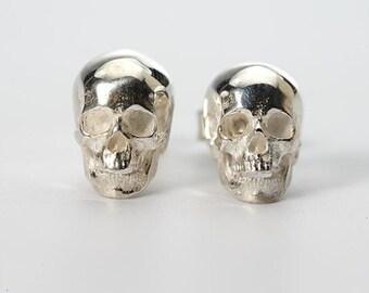 Silver Skull Earring   Halloween Earrings   Gothic Earring   Human Skull Earring   Silver Skull Studs   Punk Stud Earring   Gift for Her