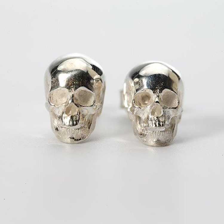earrings skull original by com notonthehighstreet product stud yume jewellery pirate yumemartinjewellery