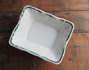 Ironstone Soap Dish Vintage Ceramic Small Trinket Dish Condiment Square Dish