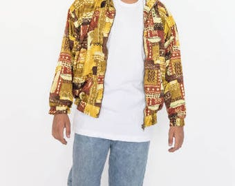 Vintage 80s Brown and Yellow Tones Bomber Jacket