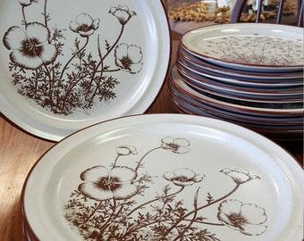 Noritake Desert Flowers Vintage Brown Flower Dinner Plate Set
