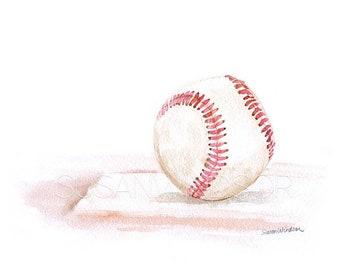 Baseball Watercolor Painting - 10 x 8 / 11 x 8.5- Giclee Print - Sports Boys Room Nursery Art