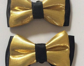 1 pair of black gold satin bow shoe clip