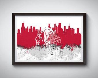 Chicago Inspired Art Poster Print 2, Chicago, Illinois Skyline Poster 2